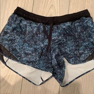 Lululemon blue tie-dye shorts